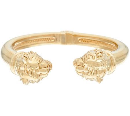 14k Gold Average Polished Lion Head Cuff Bracelet