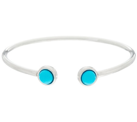 """As Is"" Round Kingman Turquoise Sterl. Flexible Bracelet"