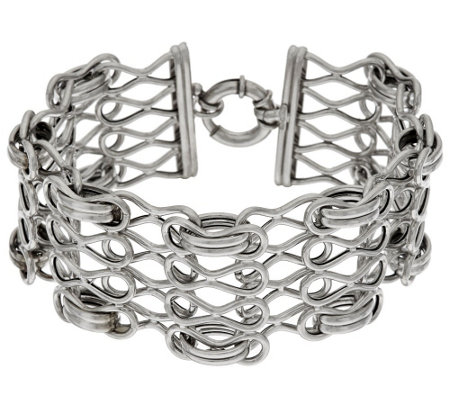 """As Is"" Italian Silver 6-3/4"" Woven Status Link Bracelet, 17.7g"