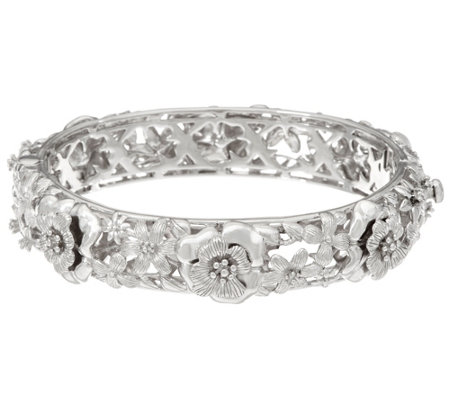 Sterling Silver Floral Hinged Bangle Bracelet by Silver Style 58.2g