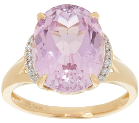 Oval Kunzite & Diamond Ring 14K Gold 5.70 ct