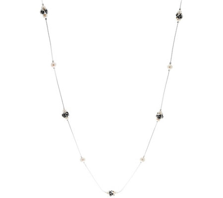 """As Is""Sterling Rose & Cultured Pearl Station 36"" Necklace by Or Paz"