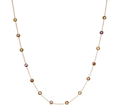 "Italian Gold 20"" Gemstone Station Necklace, 14K Gold 1.5g"