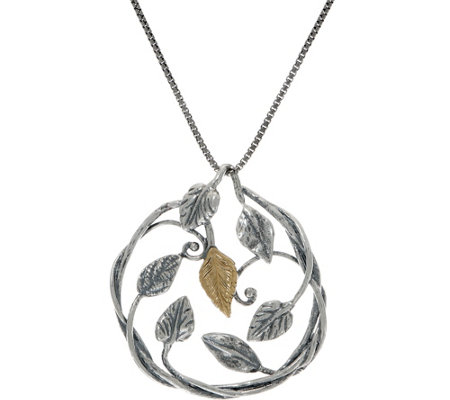 Or Paz Sterling/14K Leaf Pendant with Chain