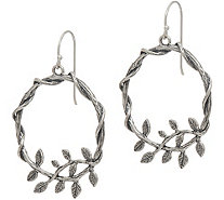Or Paz Sterling Silver Leaf Accent Round Dangle Earrings - J351382