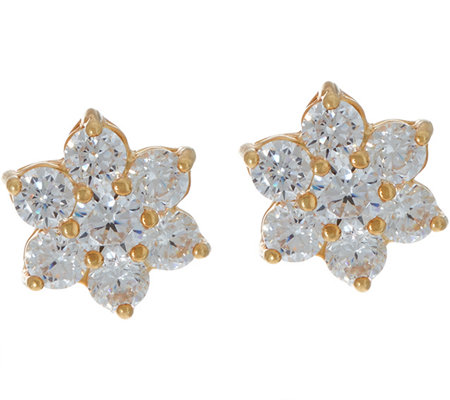 """As Is"" Diamonique Floral Cluster Studs Earrings Ster. 14K Clad"