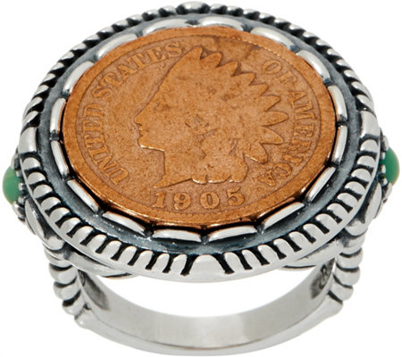 American West Sterling Silver Copper Native American Coin Turquoise Ring