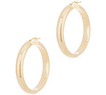 "Italian Gold 1-1/2"" Polished Hoop Earrings, 14K Gold - J356482"
