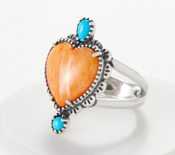 American West Sterling Silver Spiny Oyster Shell Sunrise Heart Ring - J360582