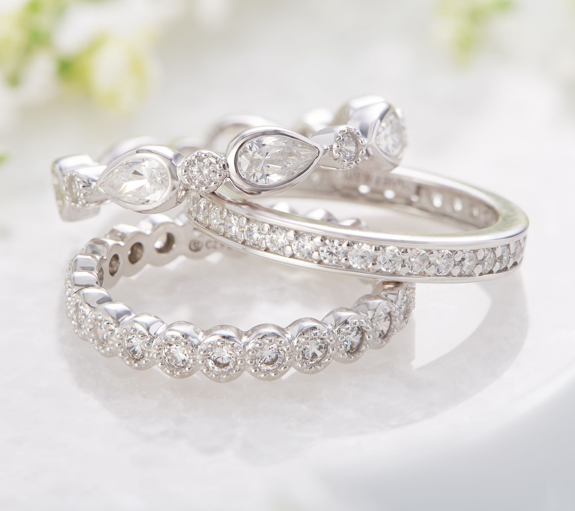 690b917a8dc9f QVC) Q2 - Diamonique Set of 3 Stackable Rings Sterling Silver ...