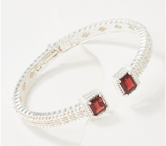 Imperial Silver Emerald Cut Gemstone Hinged Bracelet Sterling Silver