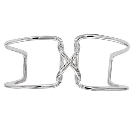 "Sterling Crystal ""X"" Open Work Cuff"