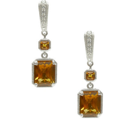 Judith Ripka Sterling Gemstone & Diamonique Earrings