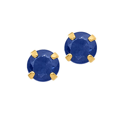 14K Gold Round Gemstone Stud Earrings
