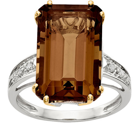 Sterling Silver & 14K Gold Whiskey Quartz And Diamond Ring