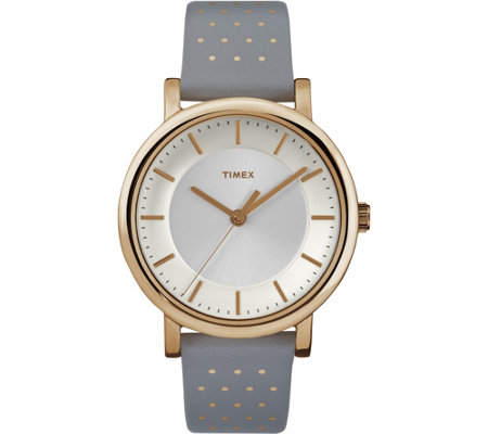 Timex Women's Classic Rosetone Gray Leather Strap Watch