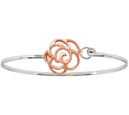 Sterling & 14K Rose Gold-Plated Flower Bangle by Silver Style