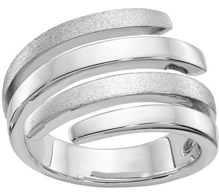 Sterling Polished & Brushed Wraparound Spiral Ring