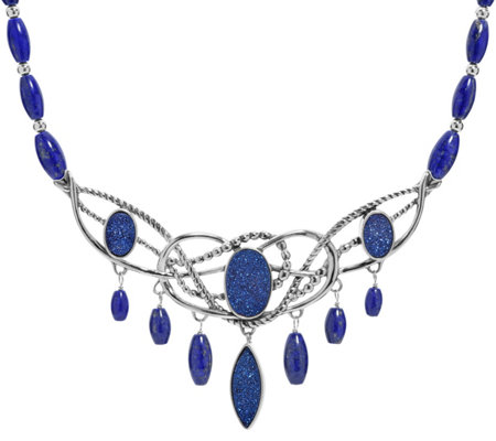 Carolyn Pollack Sterling Drusy & Lapis Statement Necklace
