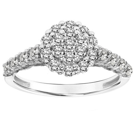 Affinity 14K Gold 3/4 cttw Diamond Round Cluster Halo Ring