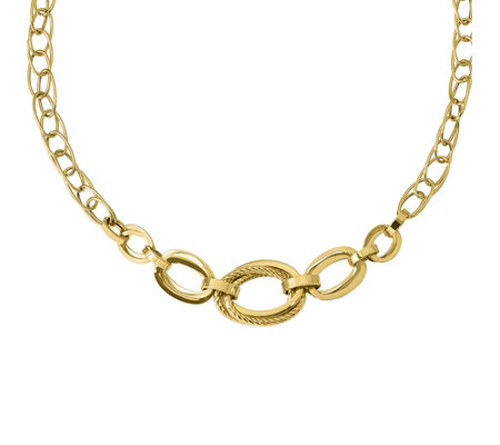 "Italian Gold 17-1/2"" Double Link Necklace 14K,11.8g"