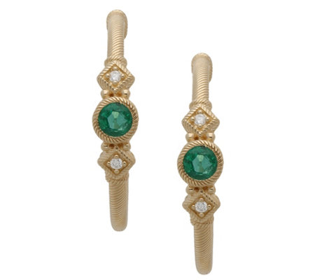 Judith Ripka 14K Gold Emerald & Diamond Hoop Earrings