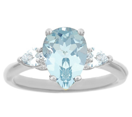 14K Gold 1.50 cttw Pear-Shaped Aquamarine Ring