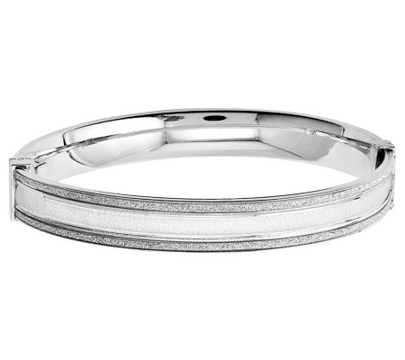 Italian Silver Baguette Glimmer Style Bangle, 12.6g