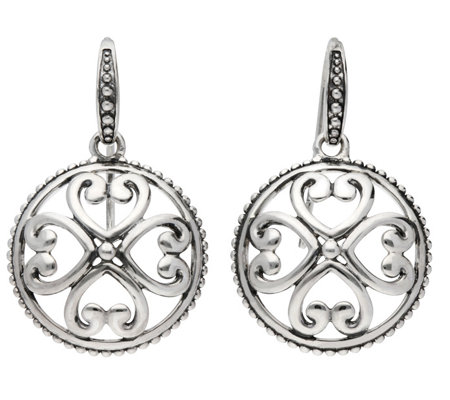 Elyse Ryan Sterling Heart Motif Textured Earrings