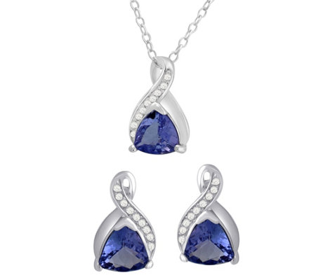 Sterling Tanzanite & White Topaz Earrings & Pendant Set