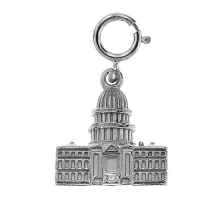 14K White Gold Capitol Building Charm