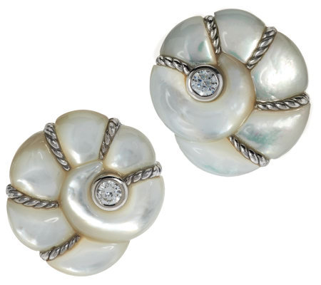 Judith Ripka Sterling Mother Of Pearl Sea S On Earrings