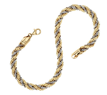 14k Gold 7 1 4 Two Tone Twisted Wred Rope Bracelet