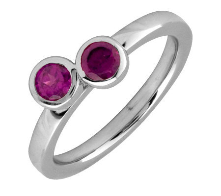 Simply Stacks Sterling & Rhodolite Garnet Double Circle Ring