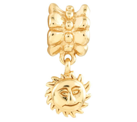 Prerogatives 14K Yellow Gold-Plated Sterling Sun Dangle Bead