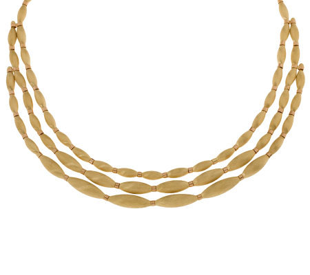 Arte D Oro 3 Strand Satin Bead Two Tone Necklace 18k 51 0g