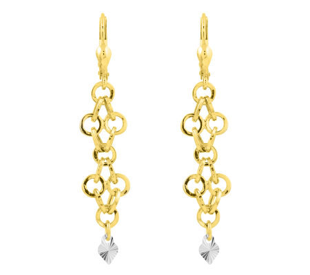 Two-tone Solid Dangle Heart Lever Back Earrings, 14K Gold