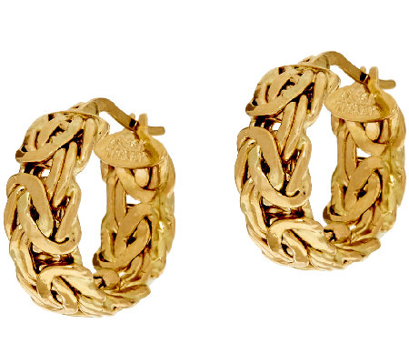 14k Gold Polished Round Byzantine Hoop Earrings