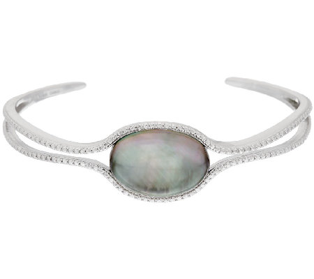 Sterling Silver Black Mother-of-Pearl Doublet Cuff by Silver Style