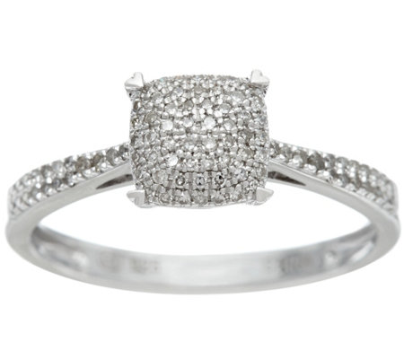 """As Is"" Diamond Pave' Choice of Cut Sterling Ring 1/5cttw by Affinity"