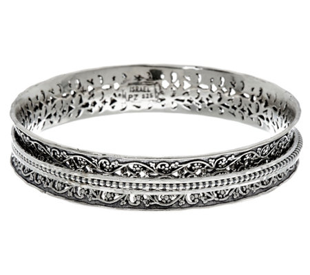 Or Paz Sterling Silver Textured Spinner Bangle 32.0g