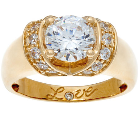 Diamonique 1 75 cttw Love Ring 14K Gold Page 1 — QVC