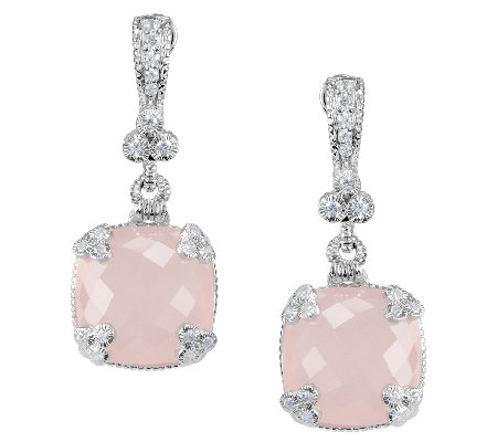 Judith Ripka Sterling 22.50cttw Rose Quartz Dangle Earrings