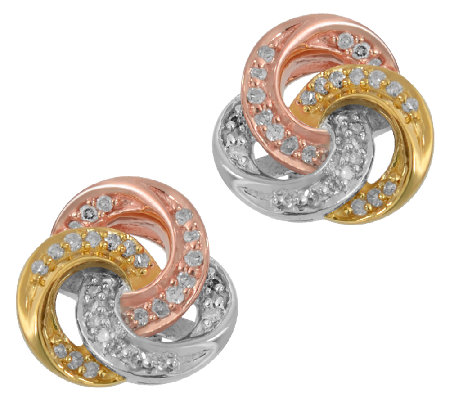 Diamond Knot Stud Earrings, 1/5 cttw, Tri-Color, by Affinity