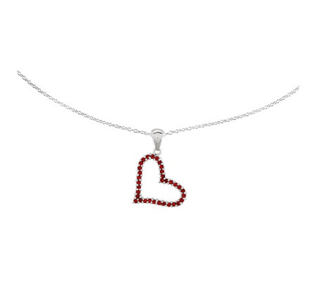 "Sterling Red Crystal Heart Pendant w/ 18"" Chain"