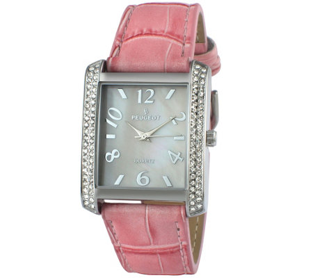 Peugeot Women's Silvertone Crystal Bezel Pink Leather Watch