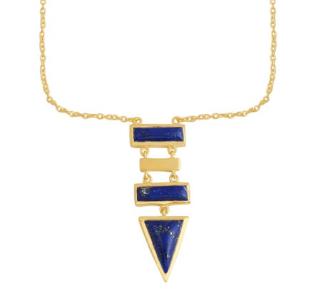 Geometric Lapis Necklace, Sterling