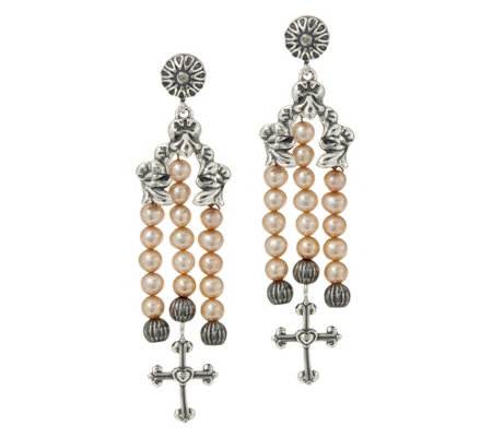 American West Sterling Silver Cultured Pearl & Cross Dangle Earrings