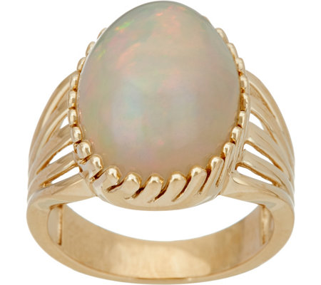 Ethiopian Opal Bold Cocktail Ring 14K Gold