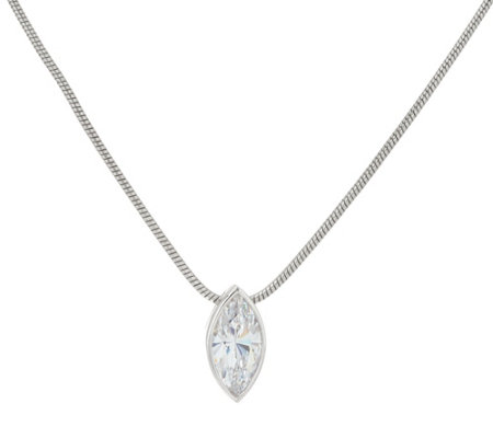 Diamonique Marquise Pendant w/ Adjustable Chain, Sterling